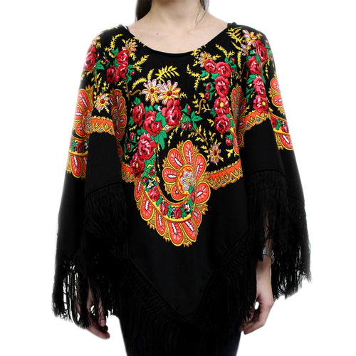 Handmade Viana Scarf Black Poncho With Fringe Made in Portugal