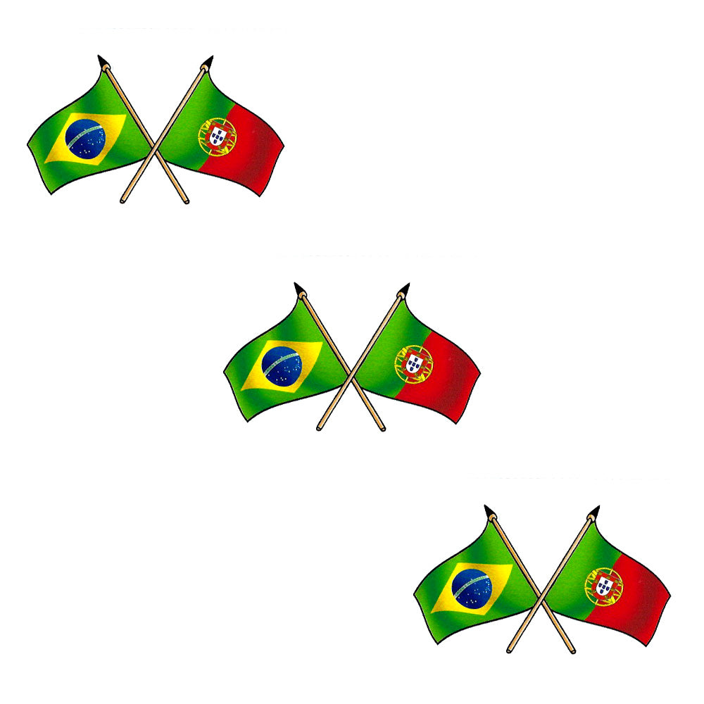 Brazilian And Portuguese Flag Decal Die Cut Vinyl Sticker- Set of 3
