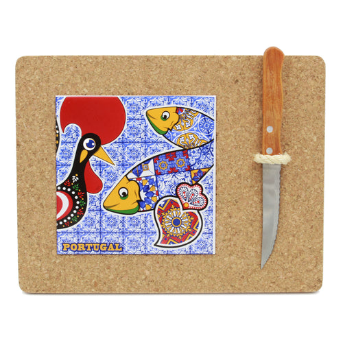 Portuguese Cork Cutting Board With Tile And Knife