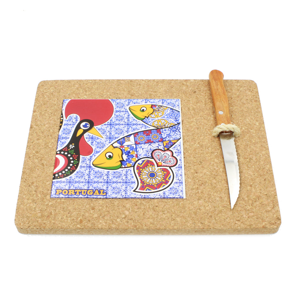 Cork Cutter: Portuguese Cork Cutting Board With Tile And Knife