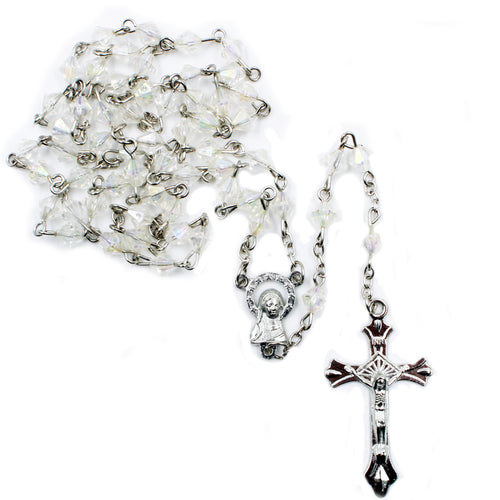 Clear Faceted Plastic Beads Our Lady of Fatima Rosary