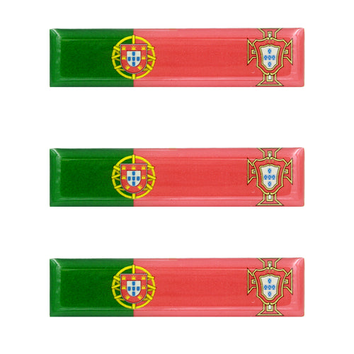 Portuguese Flag With FPF Emblem Resin Domed 3D Decal Car Sticker - Set of 3