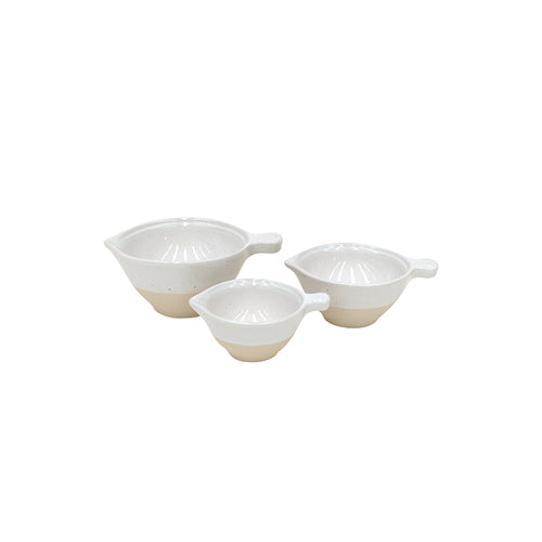 Casafina Fattoria Stoneware Ceramic White Set of 3 Measuring Cups