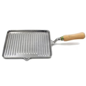 Aluminum Grill Pan With Wooden Handle Made in Portugal