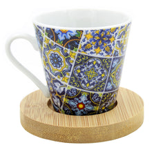 Load image into Gallery viewer, Portuguese Ceramic Espresso Cups With Bamboo Coaster Souvenir From Portugal - Set of 2
