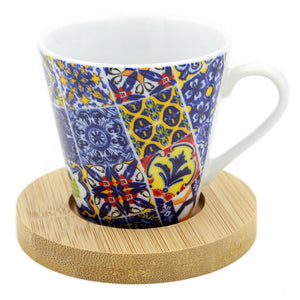 Portuguese Ceramic Espresso Cups With Bamboo Coaster Souvenir From Portugal - Set of 2