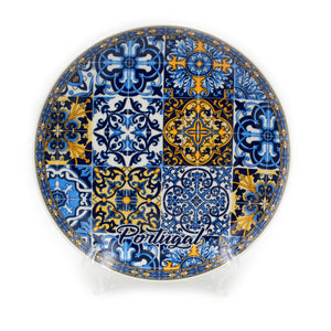 Decorative Portuguese Ceramic Plate With Tile Pattern & Stand