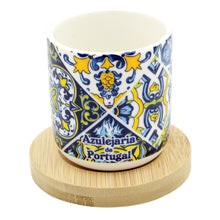 Load image into Gallery viewer, Portuguese Ceramic Espresso Cups With Bamboo Coaster Souvenir From Portugal - Set of 4