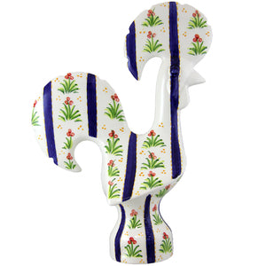 Hand-Painted Decorative Traditional Ceramic Portuguese Good Luck Rooster Blue