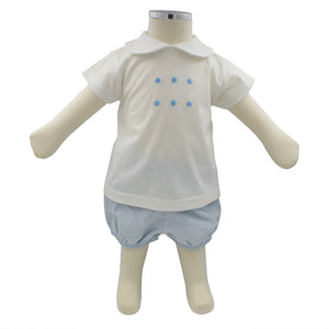 Minhon 100% Cotton Blue Baby T-Shirt and Shorts Set 3-6 Months