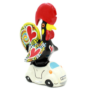 Hand-painted Traditional Portuguese Ceramic Decorative Rooster With Car