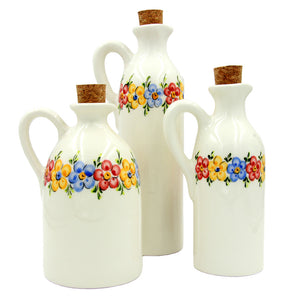 Hand-painted Traditional Portuguese Pottery Decorative Ceramic Bottles - Set of 3