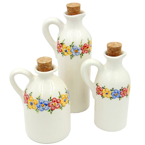 Hand-painted Traditional Portuguese Ceramic Bottles - Set of 3