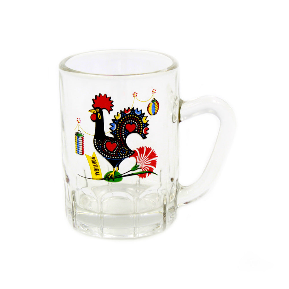 Traditional Portuguese Rooster Glass Shot With Handle Souvenir - Set of 2