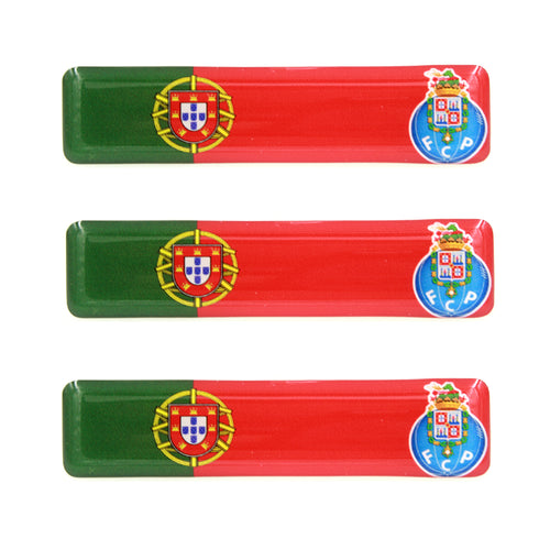Portuguese Flag With FC Porto Emblem Resin Domed 3D Decal Car Sticker - Set of 3