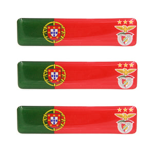 Portuguese Flag With SL Benfica Emblem Resin Domed 3D Decal Car Sticker - Set of 3