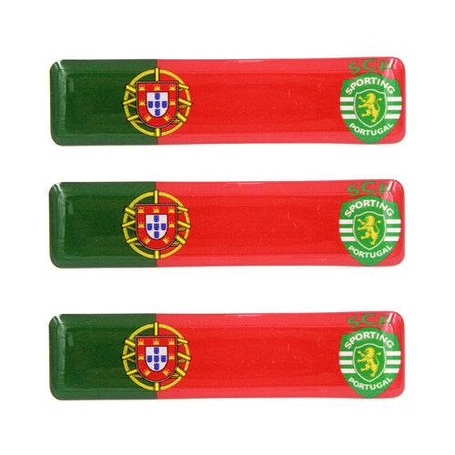 Portuguese Flag With Sporting CP Emblem Resin Domed 3D Decal Car Sticker - Set of 3