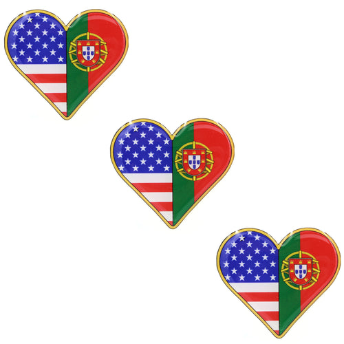 American and Portuguese Flag Heart Shape Resin Domed 3D Decal Car Sticker - Set of 3