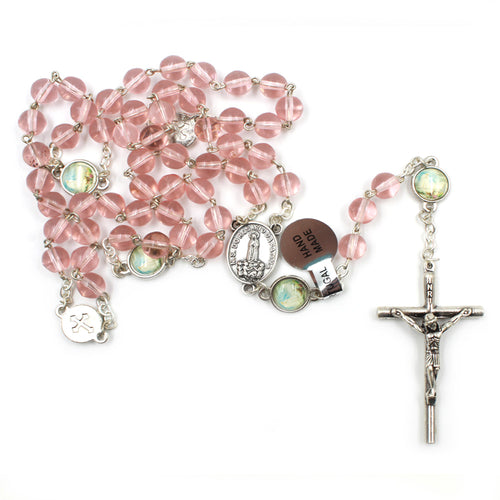 Pink Glass Beads Our Lady of Fatima Rosary