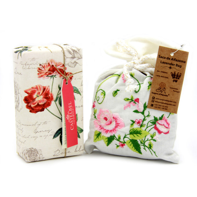 Roses Soap and Embroidered Bag Set Gift Box