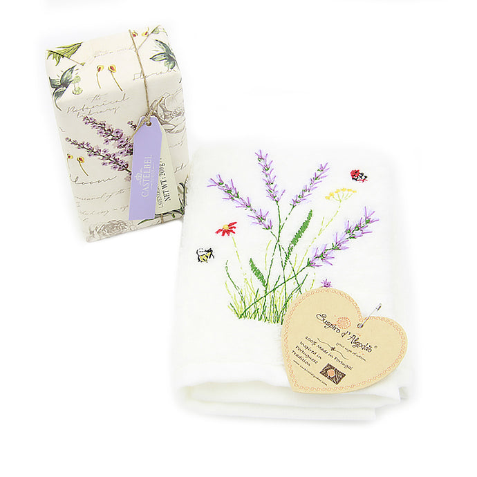 Lavender Soap and Embroidered Bath Cloth Set Gift Box