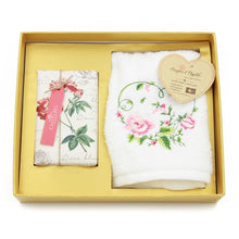 Roses Soap and Embroidered Bath Cloth Set Gift Box