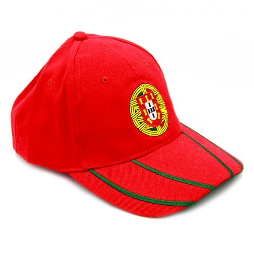 Red Baseball Cap With Embroidered Portuguese Armillary Sphere