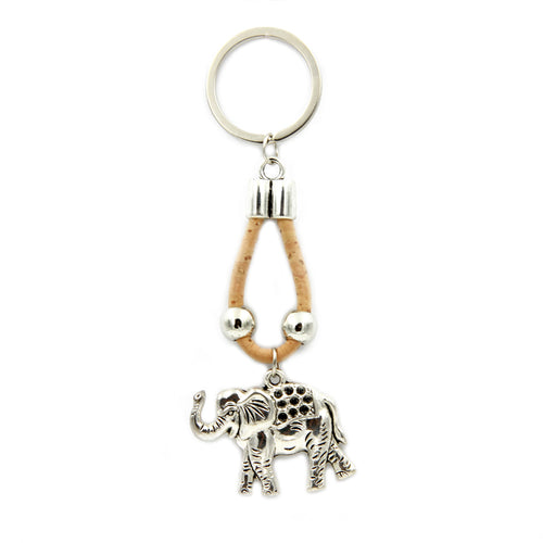 100% Natural Portuguese Cork Elephant Keychain