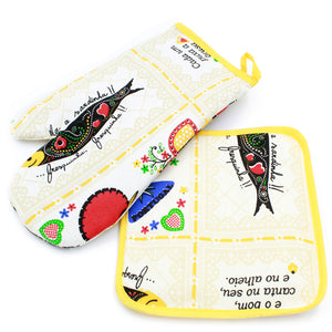 100% Cotton Oven Mitt and Pot Holder Set With Rooster & Sardine Design - Various Colors