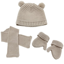 Load image into Gallery viewer, Minhon Light Brown Baby Beanie, Gloves & Scarf Winter Set Made in Portugal