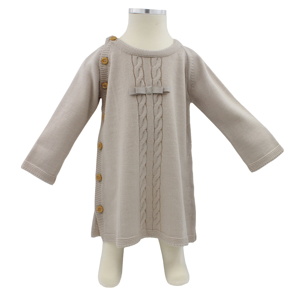Minhon Light Brown Baby Girl Long Sleeve Dress Set 6-12 Months