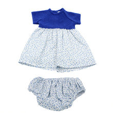 Load image into Gallery viewer, Minhon 100% Cotton Blue Baby Girl Short Sleeve Dress Set 3-6 Months