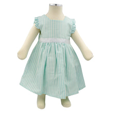Load image into Gallery viewer, Minhon 100% Cotton Aqua Green Baby Girl Short Sleeve Dress Set 6-12 Months