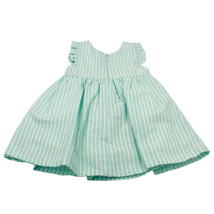 Minhon 100% Cotton Aqua Green Baby Girl Short Sleeve Dress Set 6-12 Months