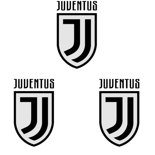 Juventus Soccer Club Decal Die Cut Vinyl Sticker- Set of 3