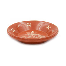 Portuguese Hand Painted Deep Terracotta Clay Serving Plate Ladeira Regional - Set of 4