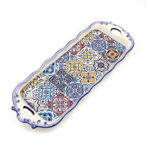 Hand-painted Portuguese Decorative Ceramic Serving Tart Tray
