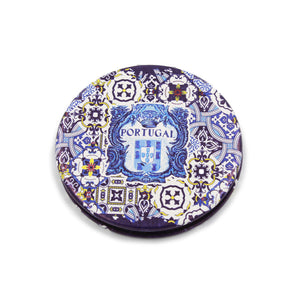 Traditional Portuguese Tile Metal Pocket Mirror Souvenir