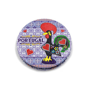 Traditional Portuguese Rooster Metal Pocket Mirror Souvenir