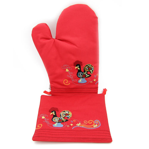100% Cotton Oven Mitt and Pot Holder Set With Embroidered Rooster Design