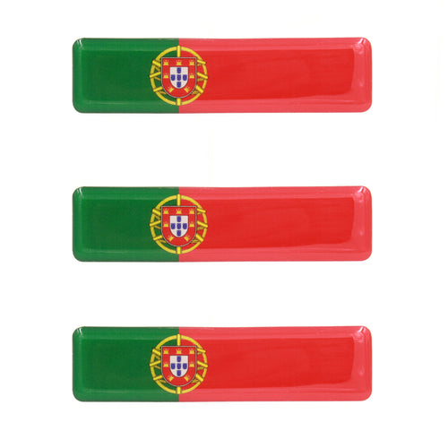 Portuguese Flag Resin Domed 3D Decal Car Sticker - Set of 3