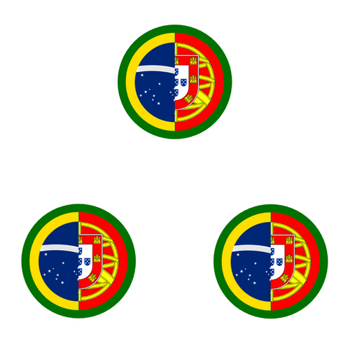 Portugal and Brazil Flag Round Decal Die Cut Vinyl Sticker- Set of 3