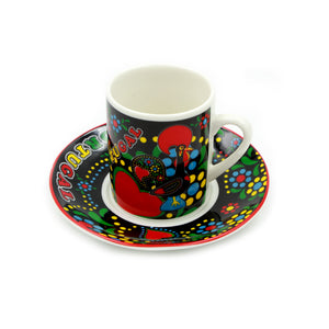 Set Of 6 Portuguese Rooster Espresso Cups and Saucers - 2 Colors Available