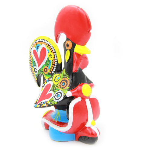 Hand-painted Traditional Portuguese Ceramic Decorative Rooster With Bike