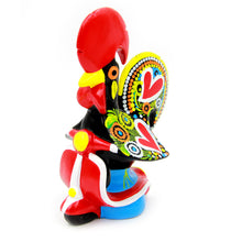 Hand-painted Traditional Portuguese Clay Decorative Rooster With Bike