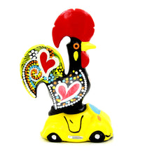 Hand-painted Traditional Portuguese Clay Decorative Rooster With Car