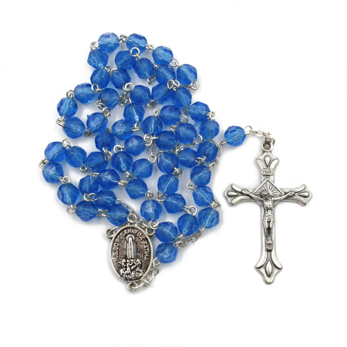 Royal Blue Faceted Plastic Beads Catholic Our Lady of Fatima Rosary