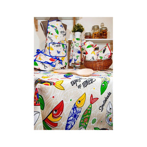 "Limol 59"" x 99"" 100% Cotton Tablecloth Made in Portugal - Sardines"