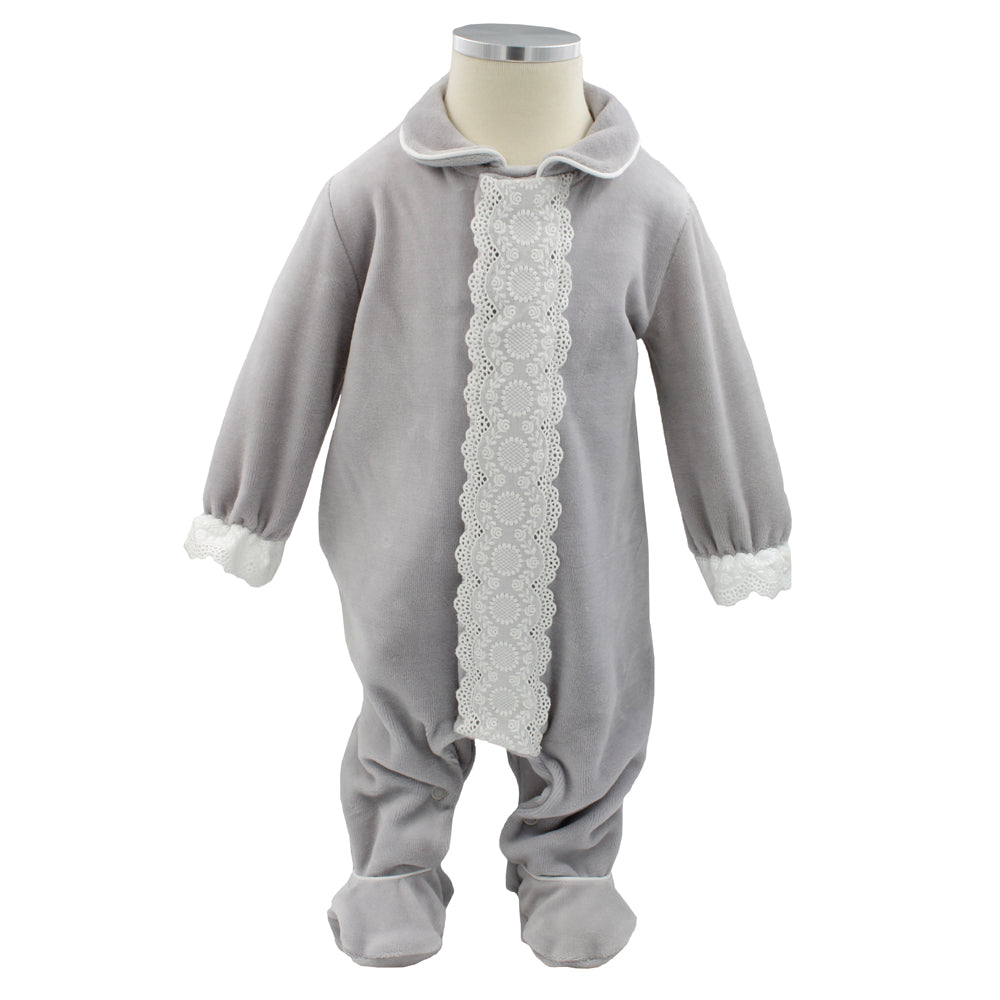 Pim-Pam-Pum Gray Babygrow Footed Sleep and Play 1 Month