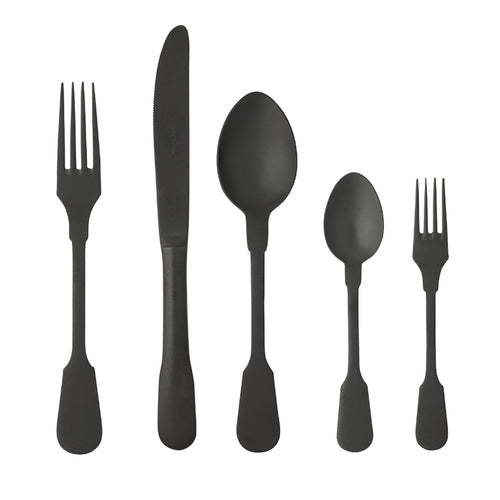 Costa Nova Saga PVD Black 20 Piece 18/10 Stainless Steel Flatware Set
